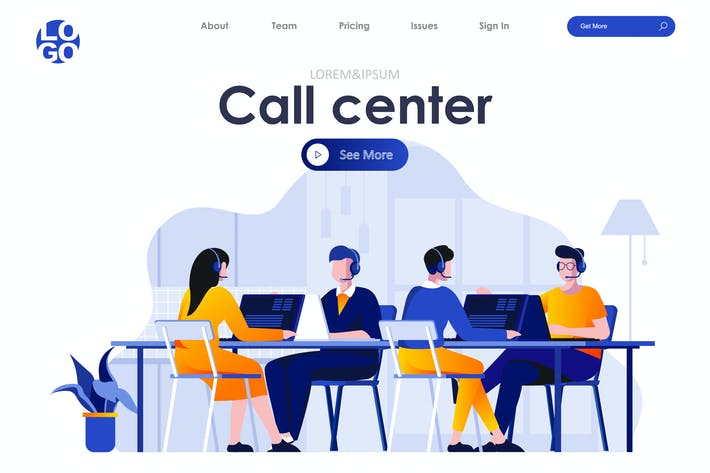 Thumbnail for Call Center Landing Page Flat Concept