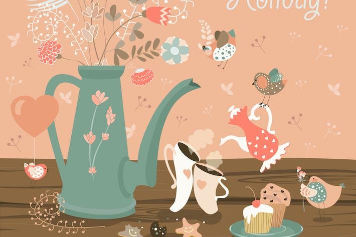 Thumbnail for Натюрморт с букетом цветов, птиц
