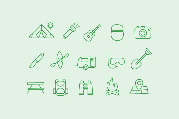 Thumbnail for 15 Camping Doodle Icons