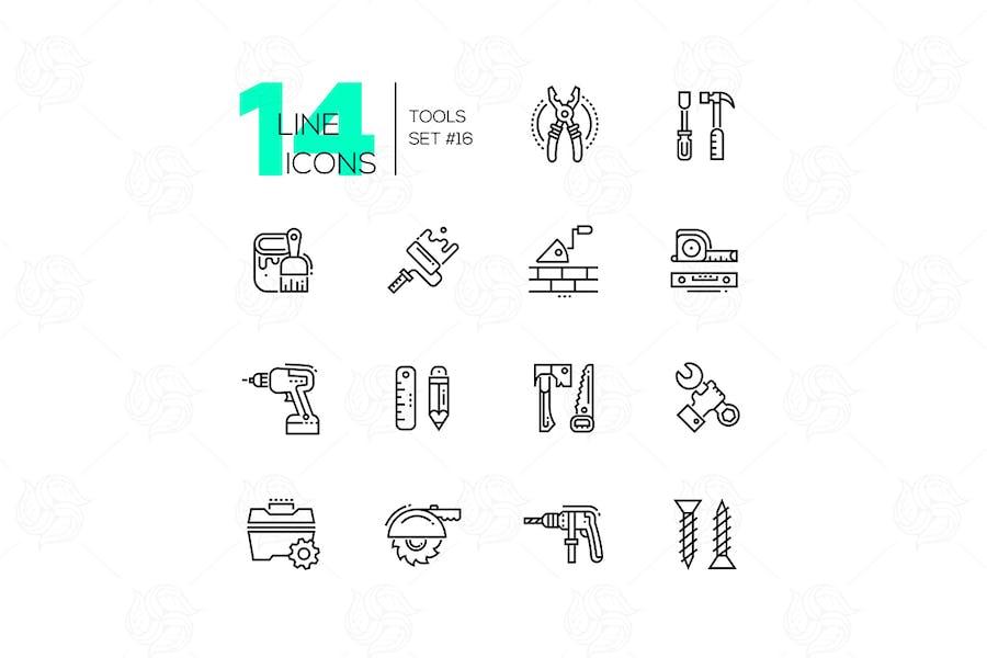 Tools - modern single line icons set