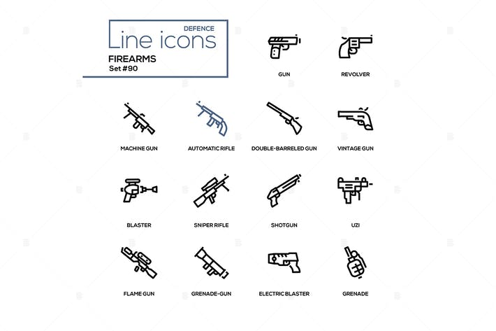 Thumbnail for Firearms - modern line design icons set