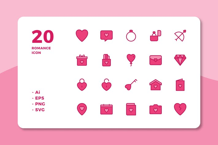 Thumbnail for 20 Romance Icons (Lineal Color)