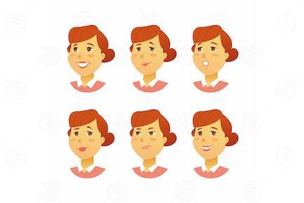 Weibliche Gesichtsausdrücke - Vektor illustration