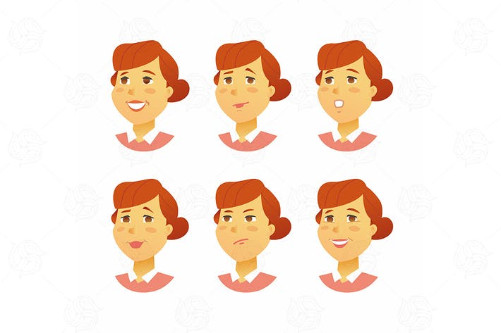 Female Facial Expressions - vector illustration