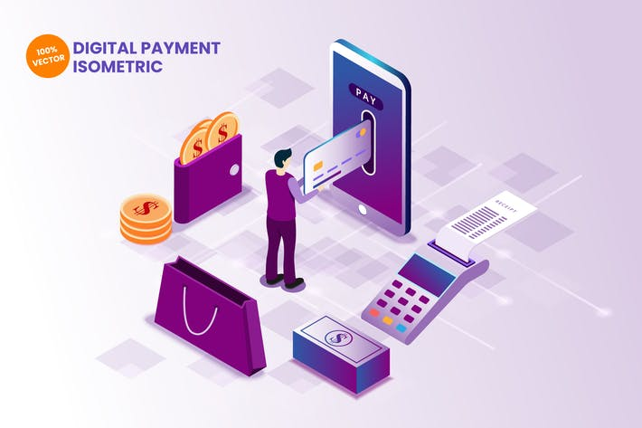 Thumbnail for Isometric Digital Payment Vector Illustration