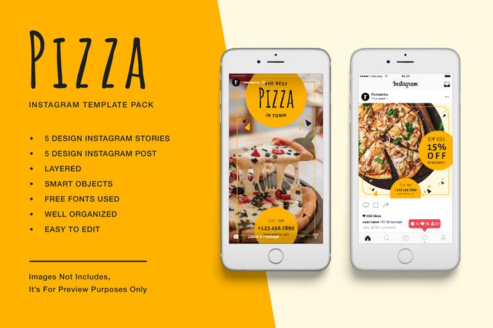 Thumbnail for Pizza Instagram Stories and Post Template