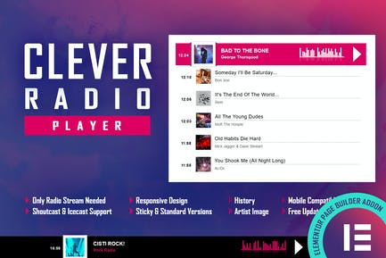 CLEVER - HTML5 Radio Player & History - Elementor