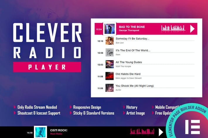 Thumbnail for CLEVER - HTML5 Radio Player & Geschichte - Elementor