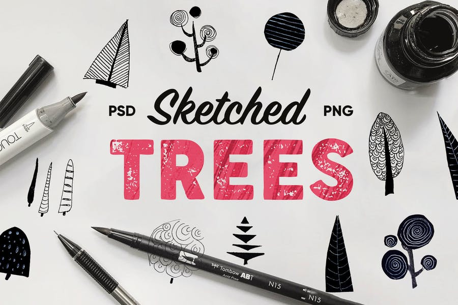 Sketched Trees Pack