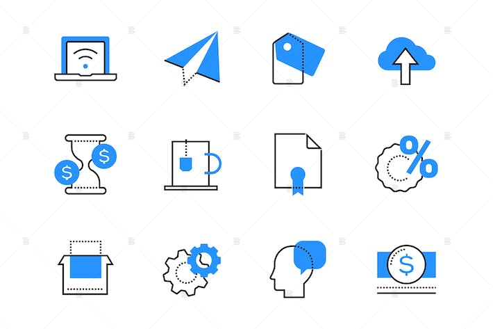 Thumbnail for Internet business color icons set