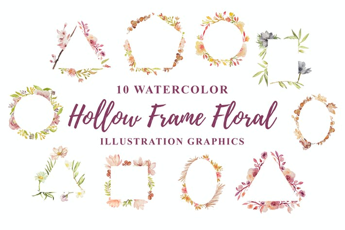 Thumbnail for 10 Watercolor Hollow Frame Floral Illustration