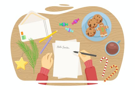 Niño escribiendo una carta a Santa. Illus Vector plano