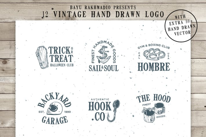 Thumbnail for 12 Vintage Logo + 50 Extra Illustrations