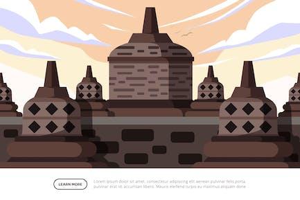 Borobudur - Famous Landmark Illustration