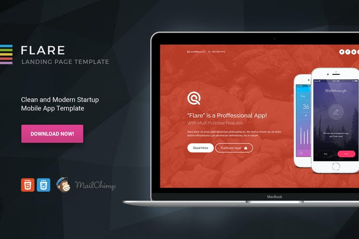 Flare HTML App Landing Page Template By Morad On Envato Elements - App landing page template