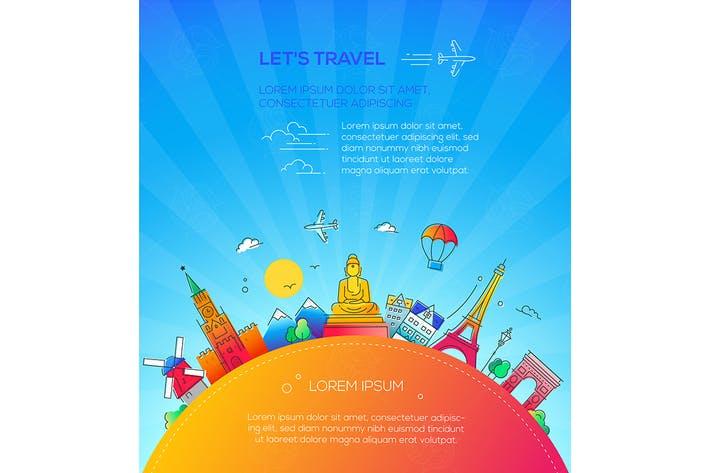Cover Image For Let's Travel - flat design style illustration