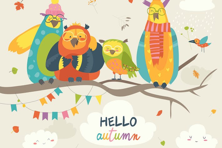 Thumbnail for Funny owls on the autumn tree. Vector illustration