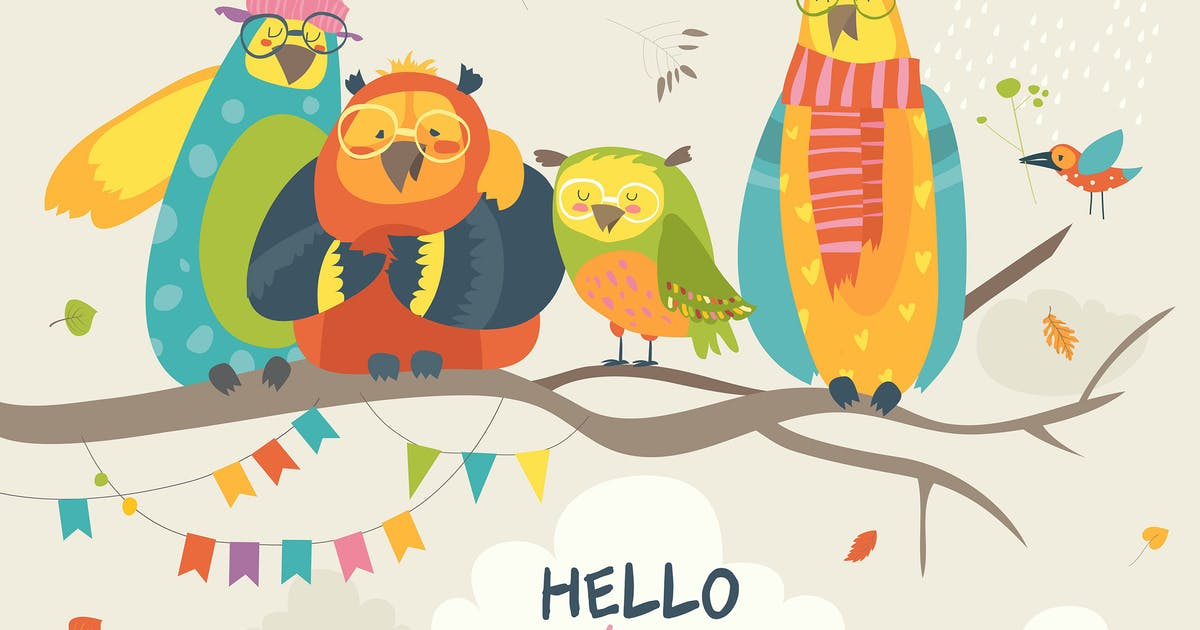 Download Funny owls on the autumn tree. Vector illustration by masastarus