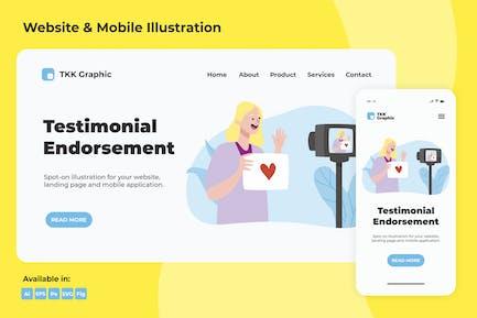 Testimonial endorsement web and mobile