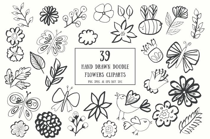 Thumbnail for 35+ Handdrawn Doodle Flowers Cliparts