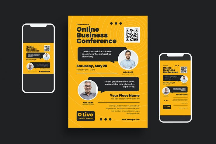 Thumbnail for Online Business Conference Flyer Set