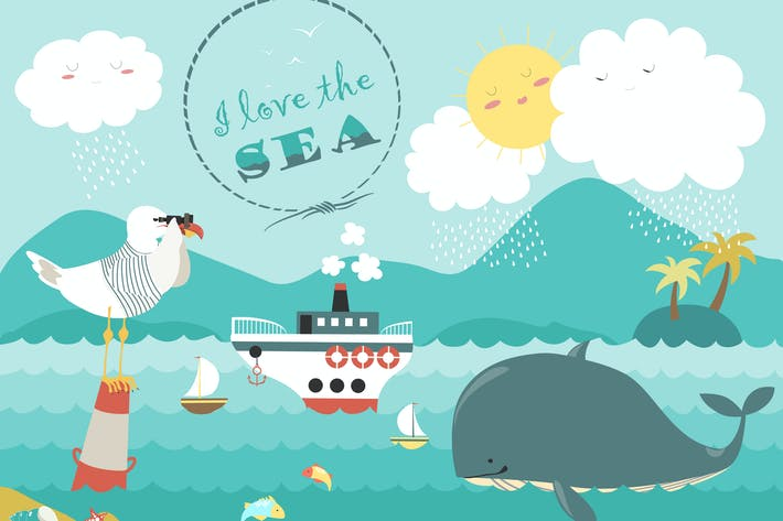 Thumbnail for Whale,steamship and seagull in blue sea. Vector