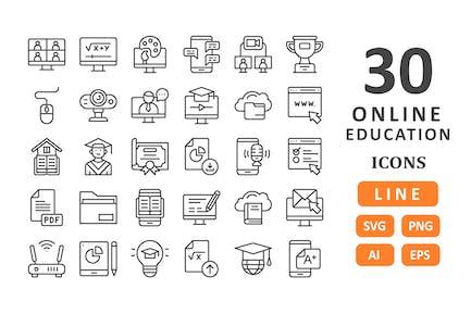 30 Íconos de Educación Online - Línea