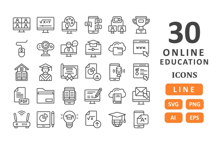 Thumbnail for 30 Online Education Icons - Line