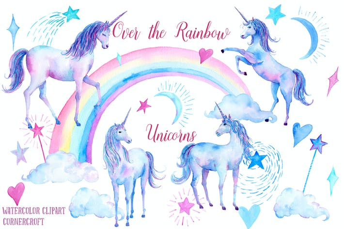 Thumbnail for Watercolor Over the rainbow Unicorn Clipart