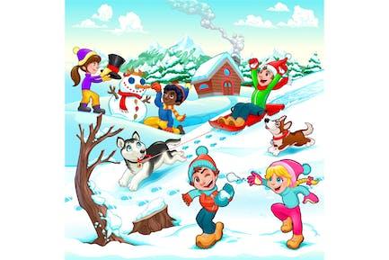 Escena divertida de invierno con niños y perros