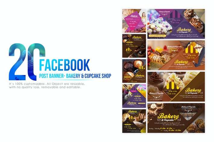 Cover Image For 20 Facebook Post Banner - Bakery and Cupcake Shop
