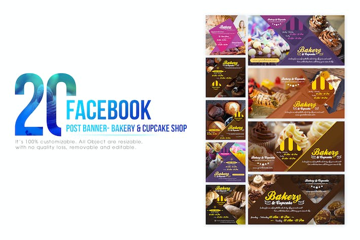 Thumbnail for 20 Facebook Post Banner - Bakery and Cupcake Shop
