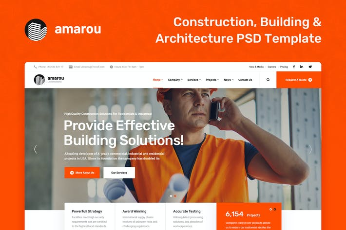 Thumbnail for Amarou - Construction And Building PSD Template