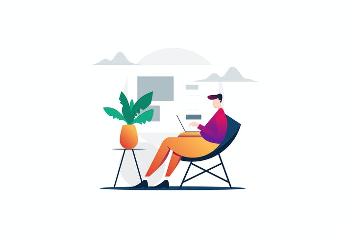 Thumbnail for Man Sitting On The Chair Working On The Laptop