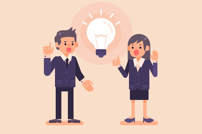 Thumbnail for Businessman and Woman with Idea Light Bulb