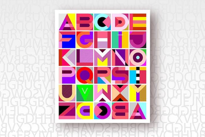 Mehrfarbige dekorative geometrische Schrift