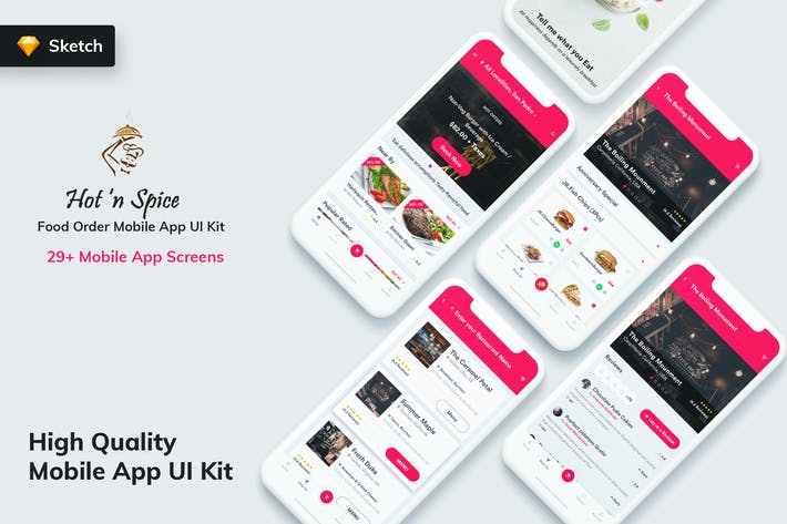 Thumbnail for Hot & Spice - Food Order MobileApp UI Kit (Sketch)