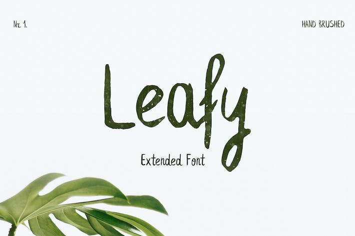 Thumbnail for Leafy Extended Brush Font