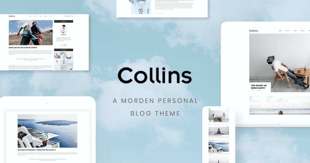 Download Collins - Minimalist & Personal Blog PSD Template by AuThemes