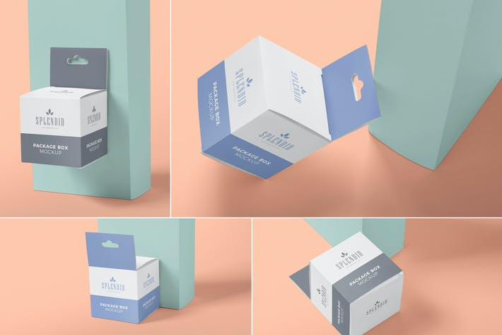 Thumbnail for Square Box Packaging Mockups with Hanger