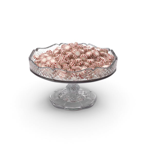 Fancy Crystal Bowl with Peppermint Starlight Candy