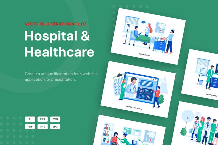 Thumbnail for Hospital & Healthcare Vector Scenes (Vol 02)