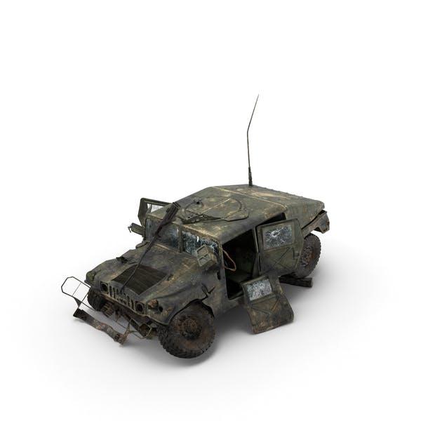 Уничтоженный военный Humvee