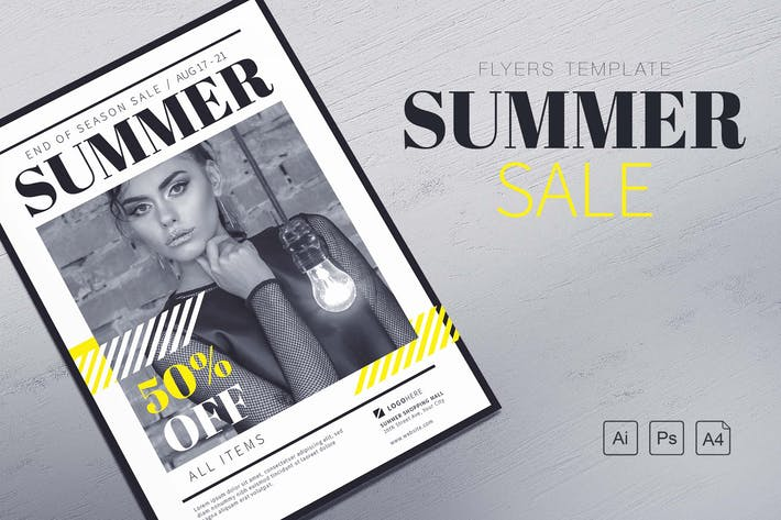 Cover Image For Summer Sale Flyers Template