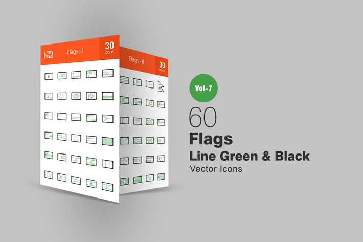 Thumbnail for 60 Flags Green & Black Line Icons