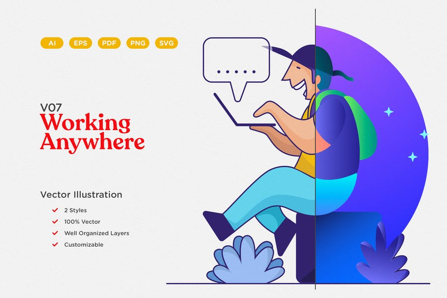 Working Anywhere Vector Illustration