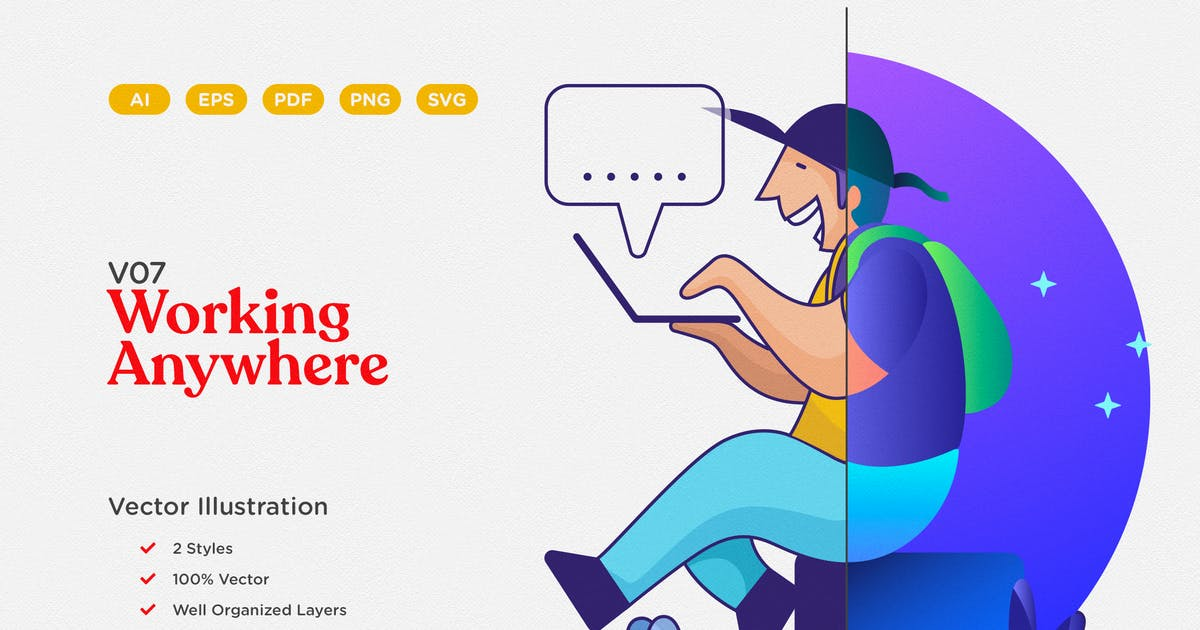Download Working Anywhere Vector Illustration by telllu