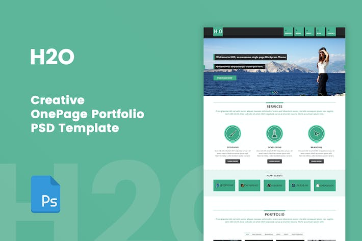 Thumbnail for H2O - One Page Portfolio PSD Template