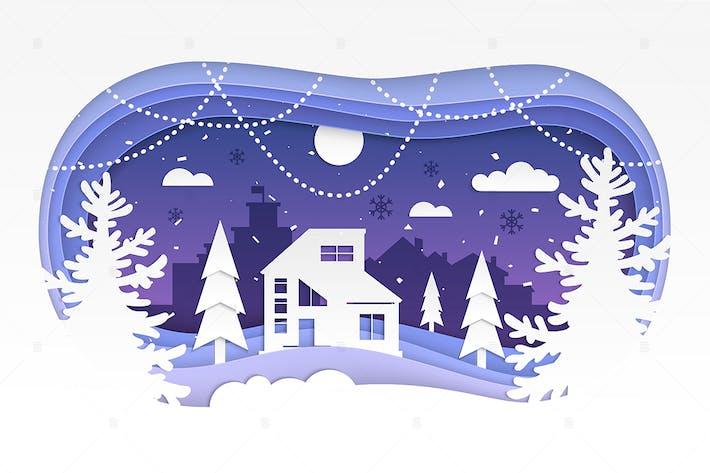 Thumbnail for Winter landscape - modern paper cut illustration