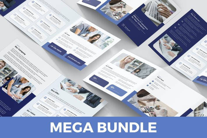 Cover Image For IT Services – Brochures Bundle Print Templates